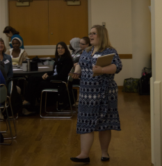Kelsey Harr-Lagan Provides Instructions for Brainstorming. (Photo by Chavez Procope)