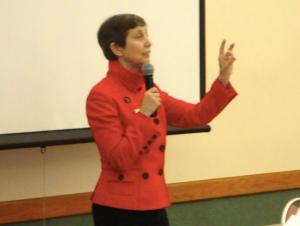 Ann Cramer, the keynote speaker, addresses the audience.