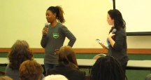 Faculty member Sonia Toson and Chelsea Feraco discuss SPSU.