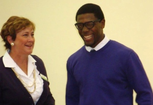Ann Parker worked closely with Alex Harrison in classes and in the honors program.  Here they celebrate his graduation.