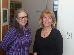 Meg Dillon and Pam Frinzi in the doorway of Pam's office.