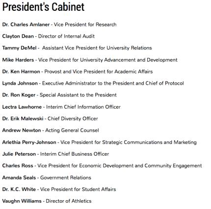 Figure 1: Current KSU President's Cabinet