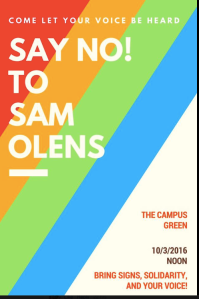 Poster advertising student protest on Monday, October 3rd